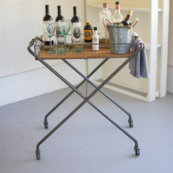 Wire & Wood Tray with Folding Base & Casters