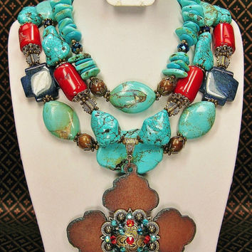 Southwest / Santa Fe / Western Statement Chunky Turquoise Cowgirl Necklace Set with Rustic Cross Pendant - TReaSuReS oF OLd SaNTa Fe