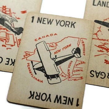 Vintage New York Airplane Card paired with Take Off and Land for Gas - Lot of 3 Children's Game for Swap Altered Art Collage Decoupage