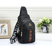 Fendi Sells Men's and Women's Printed Coloured Fashion Single Shoulder Backpacks Black