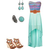 Tribal dress with turquoise jewelry