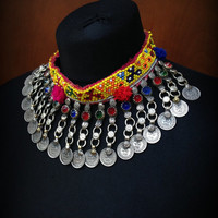Beaded Kuchi Choker with Coin Dangles Kuchi Choker Kuchi Coin Necklace Tribal Choker Necklace Tribal Choker Kuchi Jewelry Yellow Red Blue