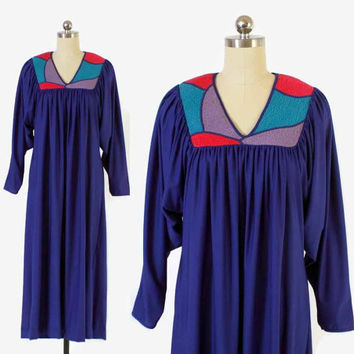 Vintage Oscar De La Renta DRESS / 80s ODLR for Swirl Bold Draped Caftan Dress