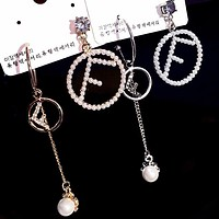 FENDI Hot Sale Fashion Women Delicate Diamond Pearl Asymmetric Earrings Accessories Jewelry
