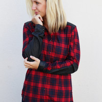 Leather Together Plaid Top