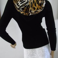 Leopard Print Sweater Jeweled Zip Ribbed Knit Lined Hooded Stretch Sz L Kaily K