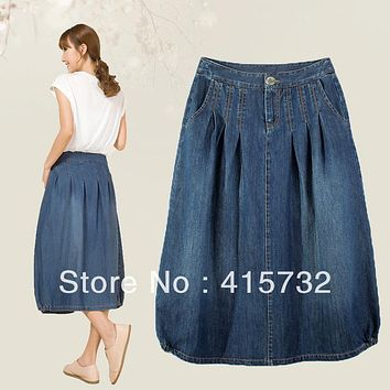 Free Shipping 2017 New Jeans Plus Size XL Casual Loose A-line Skirts All-match Pleated Skirts For Women Mid-calf Denim Summer