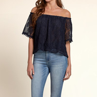 Arrow Point Off-The-Shoulder Crop Top