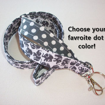 Lanyard  ID Badge Holder - Lobster clasp and key ring - design your own gray elephants white polka dots gray two toned double sided