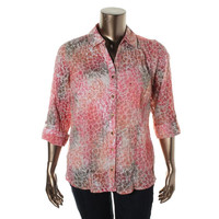 JM Collection Womens Plus Woven Patterned Button-Down Top