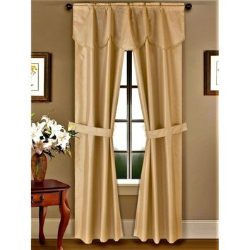 5PC GOLD Rod Pocket Faux Silk Room Darkening Blackout Window Curtain, 1 Fringe Valance & 2 Panels Attached with 2 Tie Backs 54""