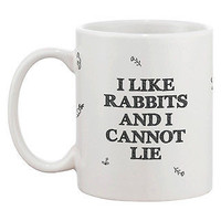 Funny and Cute Bunny Ceramic Coffee Mug - I Like Rabbits and I Cannot Lie