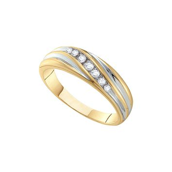 14kt Two-tone Gold Mens Round Diamond Band Wedding Anniversary Ring 1/6 Cttw