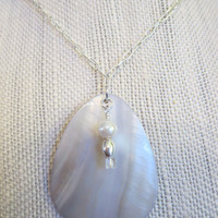 Mother of Pearl Silver Beaded Necklace Pendant Women Girls Jewelry Chic Bohemian Silver