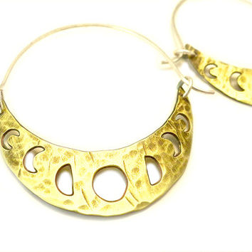 Lunar Moon Phase Hoop Earrings, moon cycle earrings, brass, moon calendar earrings, moon cycle jewelry, lunar phases, moon phases jewelry