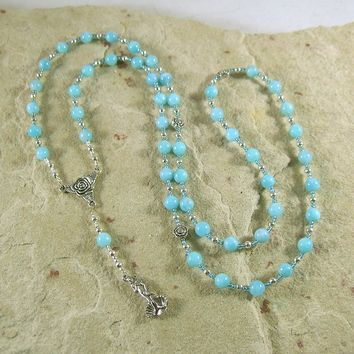 Aphrodite Prayer Bead Necklace in Aquamarine: Greek Goddess of Love and Beauty