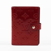 """Louis Vuitton Red Monogram """"Vernis"""" Patent Leather """"Small Ring Agenda"""" Wallet"""