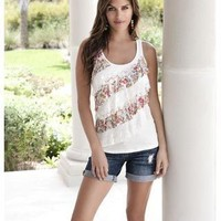 DIAGONAL MIXED RUFFLE RACERBACK TANK | Body Central