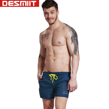 DESMIIT men's swimming trunks sexy solid elastic drawstring swimwear men bathing suit gay swim shorts liner mens navy lined gym
