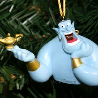 Licensed cool NEW Disney Aladdin Movie Blue GENIE Bust with Magic LAMP Christmas Ornament PVC
