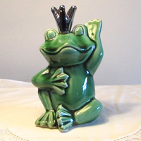 Prince Charming Frog, Silver Crowned Green Frog Figurine, Collectibles, laslovelies