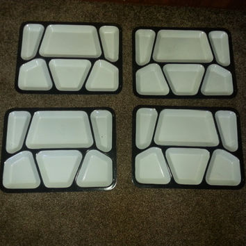 Vintage 1940s Set of 4 Enamel Coated Metal Military Serving Trays