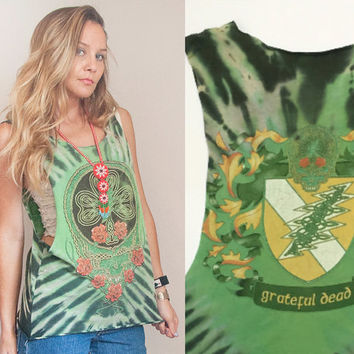 Vintage Tie Dye Grateful Dead Tank - One Size | Trashed Cut Off Tee Worn Rock n Roll Celtic 80s 90s Band T-Shirt | Rocker Hippie Skull Roses