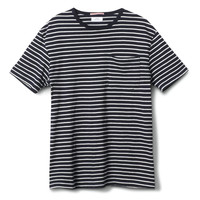 Apolis Stripe Pocket Tee Blue L