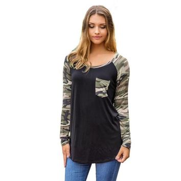 Camo Patchwork Long Sleeve Shirt