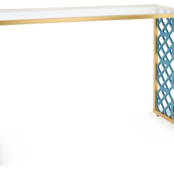 "Kings Grant 52"" Console, Turquoise, Acrylic / Lucite, Console Table"