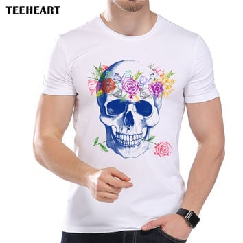 Men's Funny Flower Skull Art Print T-Shirt Men Summer Modal Hipster Designer Top Tees