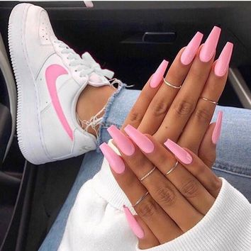 Nike Air Force 1 Fashionable Women Casual Running Sport Shoes Sneakers White(Pink Hook)
