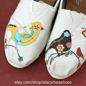 Vintage Birds TOMS with flowers