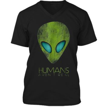 Alien Funny  Humans Aren't Real Cute UFO Gift Mens Printed V-Neck T