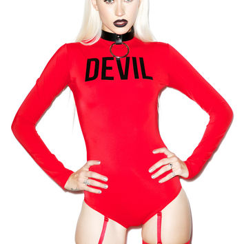 Devious Devil Bodysuit Set RED