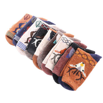 1 Pair Retro Women Lady Wool Cashmere Blend Socks Winter Warm Cute Christmas Deer Cat Owl Style