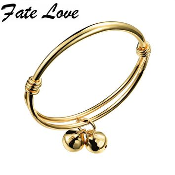 Fate Love Classic Accessories Gold Color Bells Open Bangles Size Adjustable Children Jewelry Bracelet Charm Gift For Girl FL487