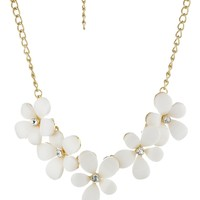 "White Cabochon Floral Statement Necklace Crystal Accents, 16.5"" + 3"" Extender"