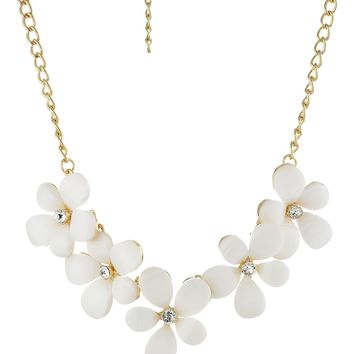 """White Cabochon Floral Statement Necklace Crystal Accents, 16.5"""" + 3"""" Extender"""