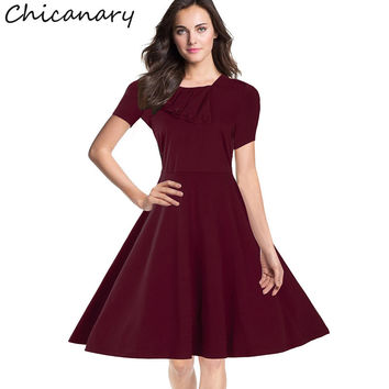 Chicanary Square Neck Women Vintage Dresses Short Sleeve 1950s Rockabilly Swing Dance Dress