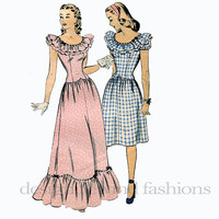 1940s DRESS PATTERN Fit & Flare Dress Ruffled Neckline Basque Waist Hollywood Pattern 1541 UNCuT Women's 40s WWII Vintage Sewing Patterns