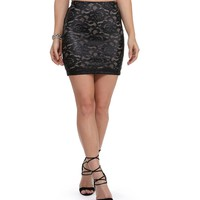 Black Coated Lace Mini Skirt