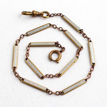 Vintage Art Deco Brass & Silver Tone Pocket Watch Chain - Antique Swivel Clip, Spring Clasp Mens Embossed Geometric Panel 1930s Jewelry
