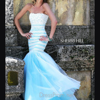 Strapless Bandeau Neckline Formal Prom Gown By Sherri Hill 11154