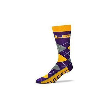 NCAA LSU Tigers Argyle Unisex Crew Cut Socks - One Size Fits Most