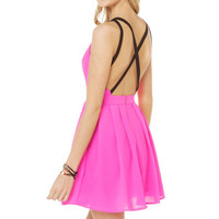 Pink V-Neck Sleeveless Strappy Back Cross Mini Dress