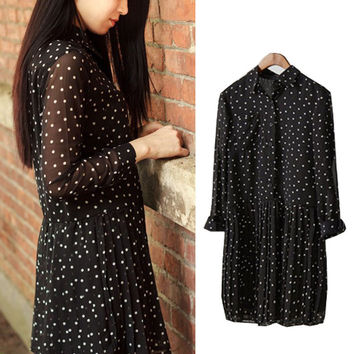 Black Polka Dot Pointed Flat Collar Buttoned Long Sleeve Pleated Chiffon Mini Dress