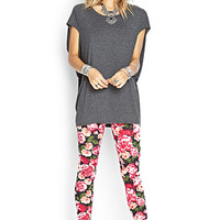FOREVER 21 Rose Print Leggings