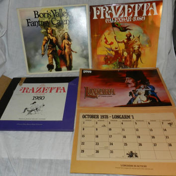 3 Vintage Art Calendars - 1980 Frank Frazetta - 1980 Boris Vallejo + 1978 Longarm by Tabor Evans - Great Fantasy Art - Art Supplies      K5L
