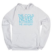 The Cold Never Bothered Me Anyway-Unisex White Hoodie